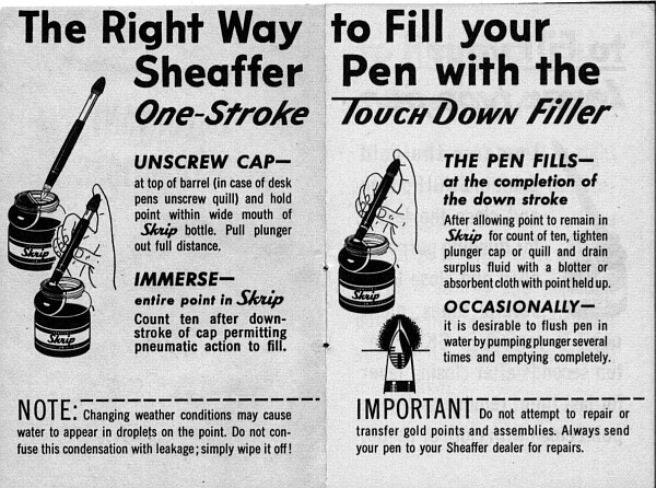 Sheaffer touchdown pen filling instructions 1949 sized for printing